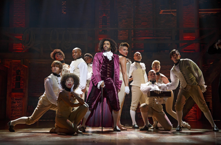 Daveed Diggs as Thomas Jefferson and ensemble