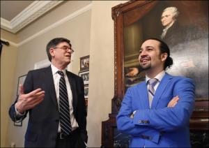 Secretary of the Treasury Jack Lew and Lin-Manuel Miranda