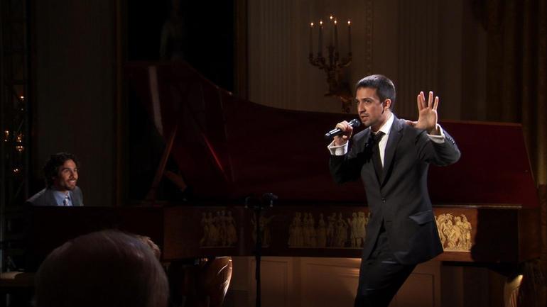 Lin-Manuel Miranda performing Hamilton at the White House in 2009
