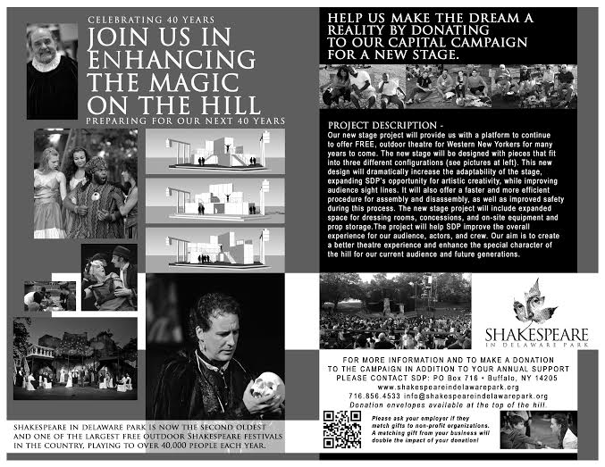 Advertisement for Shakespeare in Delaware Park's capital campaign from their 2015 program